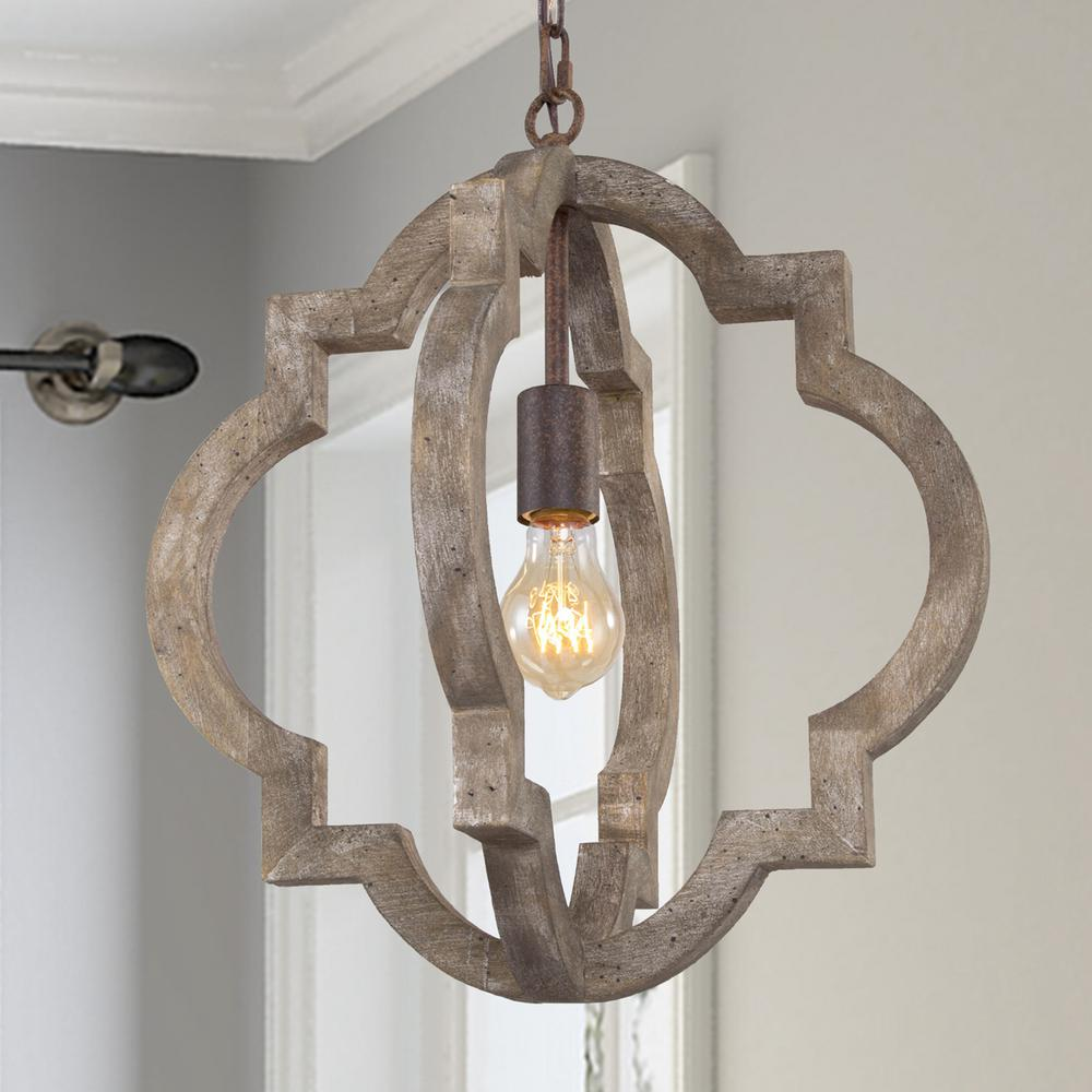 Cachil 16 in. 1-Light Gray Weathered Wood Rustic Farmhouse Dining Room Candelabra Adjustable Pendant Light