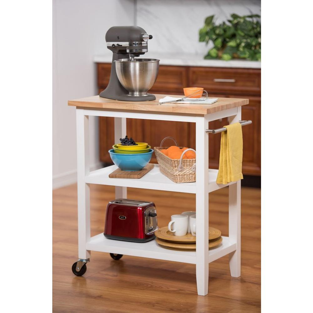 Delicieux TRINITY White Kitchen Cart With Towel Bar