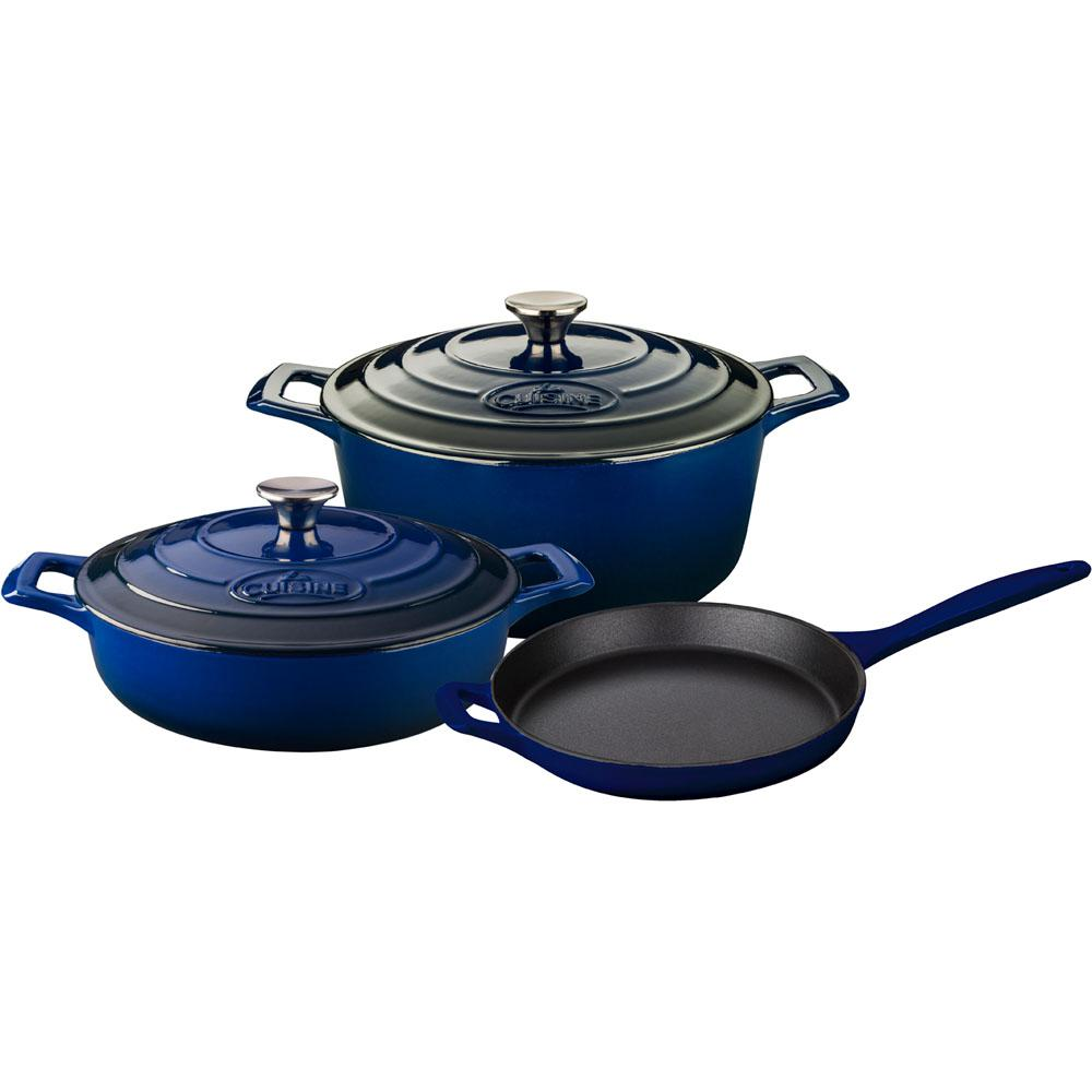 La cuisine piece enameled cast iron cookware set with