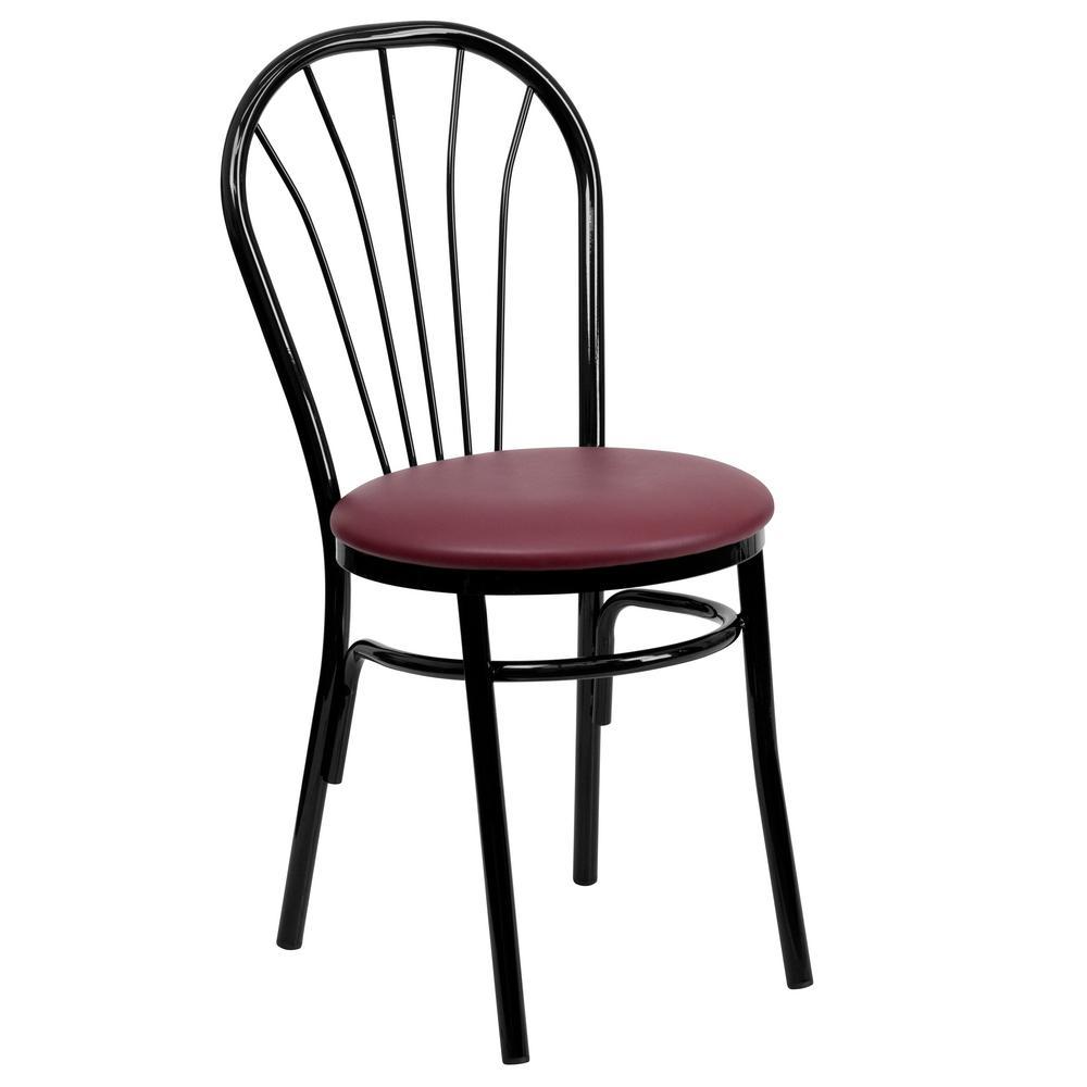 Hercules Series Black Fan Back Metal Chair   Burgundy Vinyl Seat