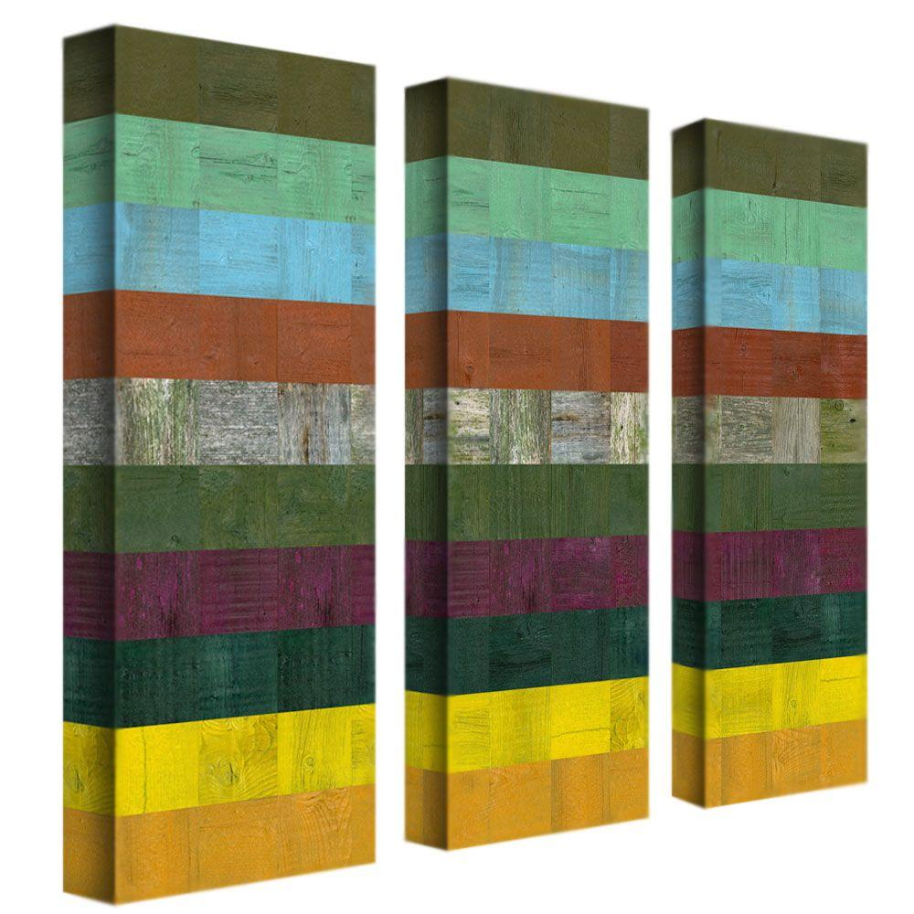 Trademark Fine Art Wooden Abstract III By Michelle Calkins 3 Panel Wall Art  Set
