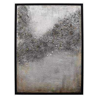 39.5 X 1.25 X 29.5 Painting W/Frame-Handpainted in Gray Wall Art