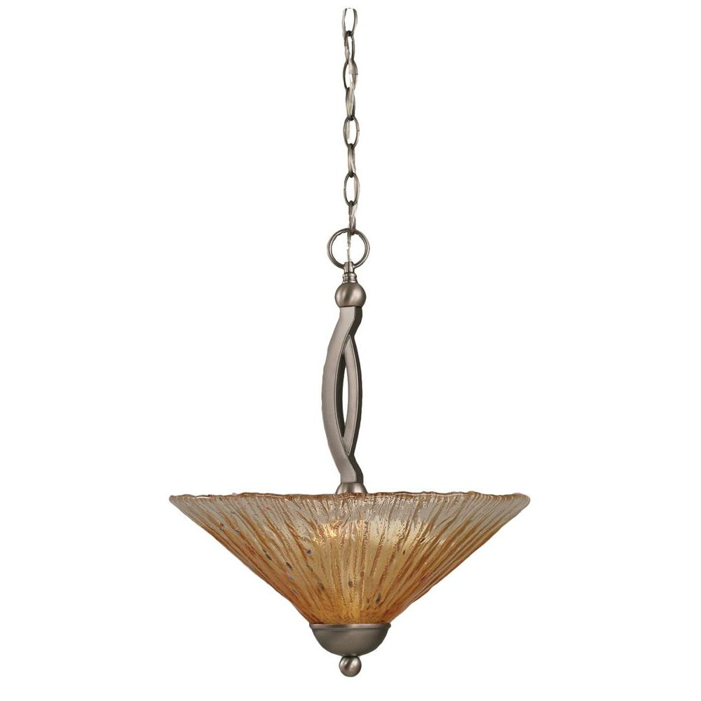 Concord 2-Light Brushed Nickel Pendant with Amber Crystal Glass