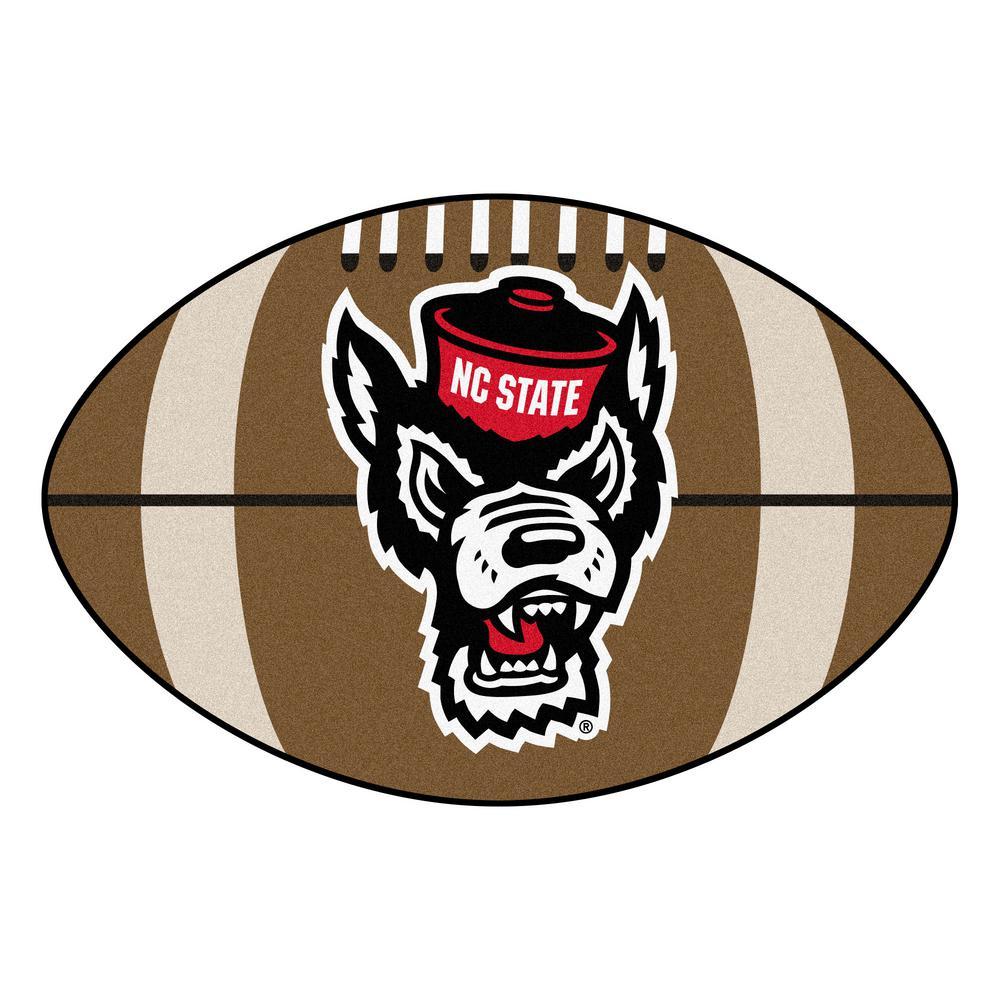 NCAA North Carolina State University 20.5 in. x 32.5 in. Football Mat Area Rug