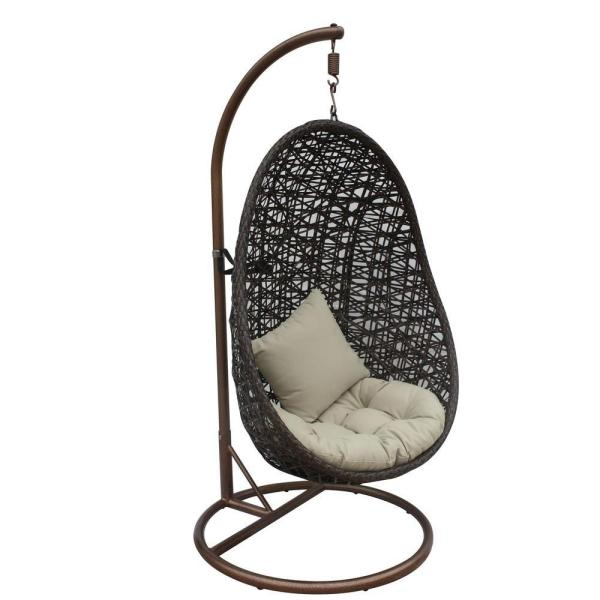 JLIP - Brown Double Woven Rattan Patio Swing Chair with Stand and Tan Cushions