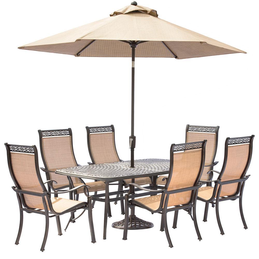 Manor 7-Piece Aluminum Rectangular Outdoor Dining Set with Cast-Top Table, Umbrella and Base