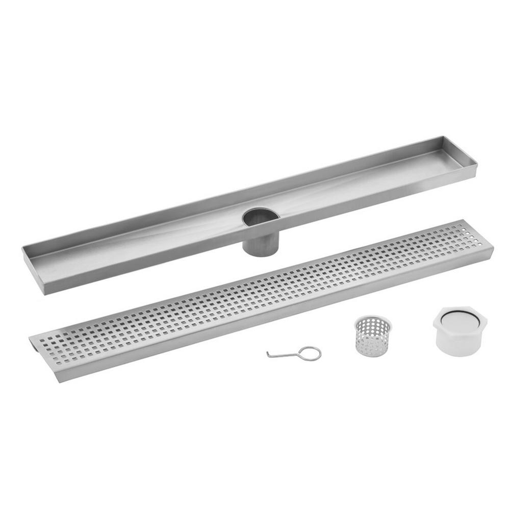 Cahaba 36 in. Stainless Steel Square Grate Linear Shower Drain