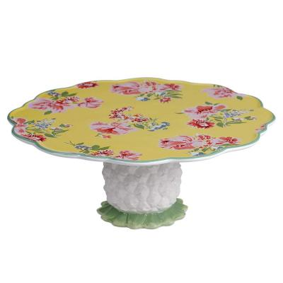 English Garden 12 in. Multicolored Cake Stand