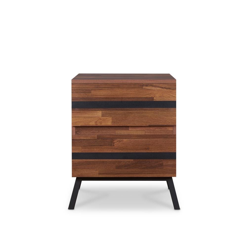 Acme Furniture Karine Walnut and Sandy Black End Table 80622