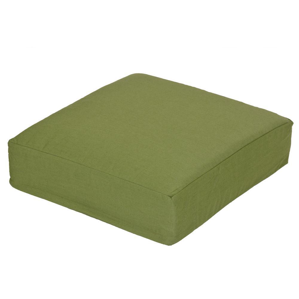 Oak Cliff Sunbrella Spectrum Cilantro Replacement Outdoor Ottoman Cushion
