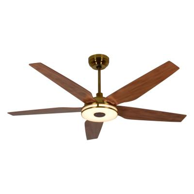 Explorer 56 in. Integrated LED Indoor Gold Smart Ceiling Fan with Light Kit works with Google and Alexa
