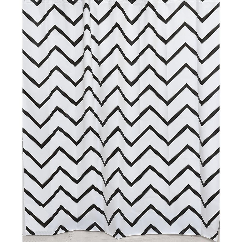 Evideco 71 In X 71 In Black White Zigzag Collection Printed Peva