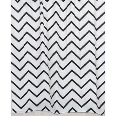 Evideco 71 in. x 71 in. Black/White Zigzag Collection Printed Peva Liner Shower Curtain Plastic
