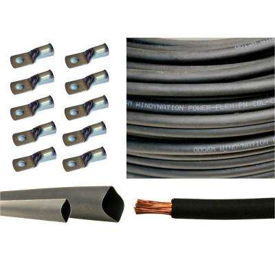 10 ft. 6-Gauge Black 10-Piece of 3/8 in. Tinned Copper Cable Lug Terminal Connectors, 3 ft. Heat Shrink Tubing