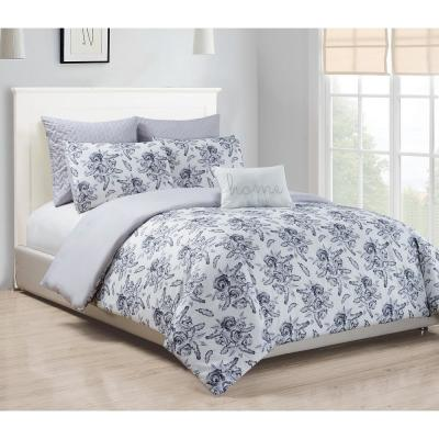 Rico 3-Piece Queen Duvet Set in Grey-Silver