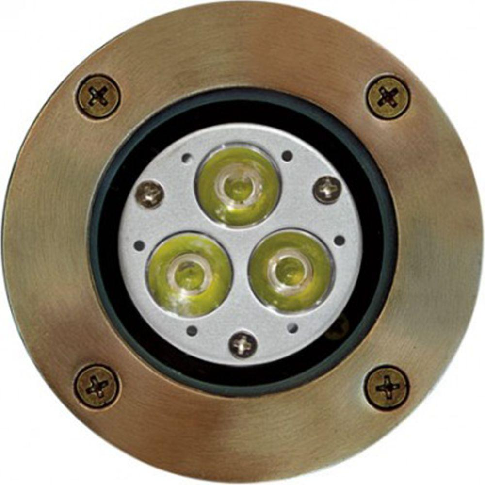 Brantley 3-Light Weathered Brass Outdoor LED In-Ground Well Light