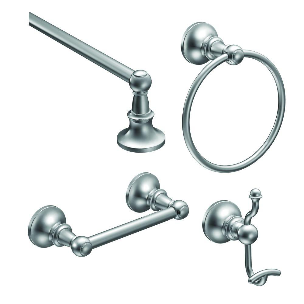 Moen vale 4 piece bath hardware set with 18 in towel bar for Bathroom hardware sets