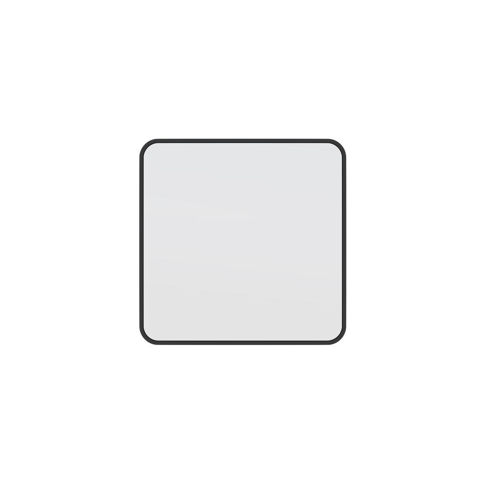 22 in. W x 22 in. H Framed Square Bathroom Vanity Mirror in Black