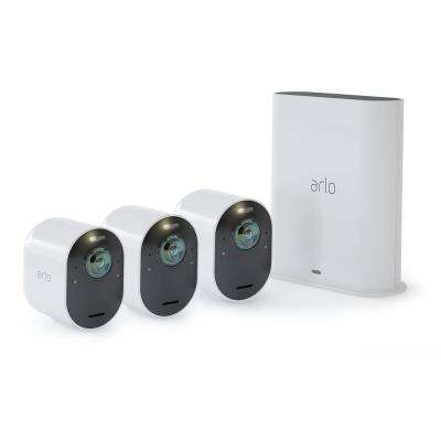 Ultra 4K Wire-Free Security 3 Camera System - White