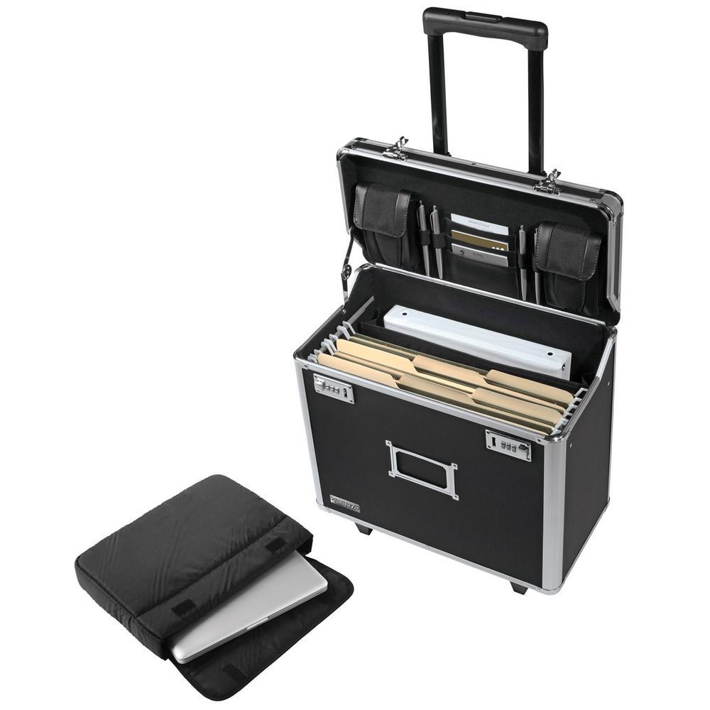 Locking Mobile Catalog Case, Black, Double Combination Locks