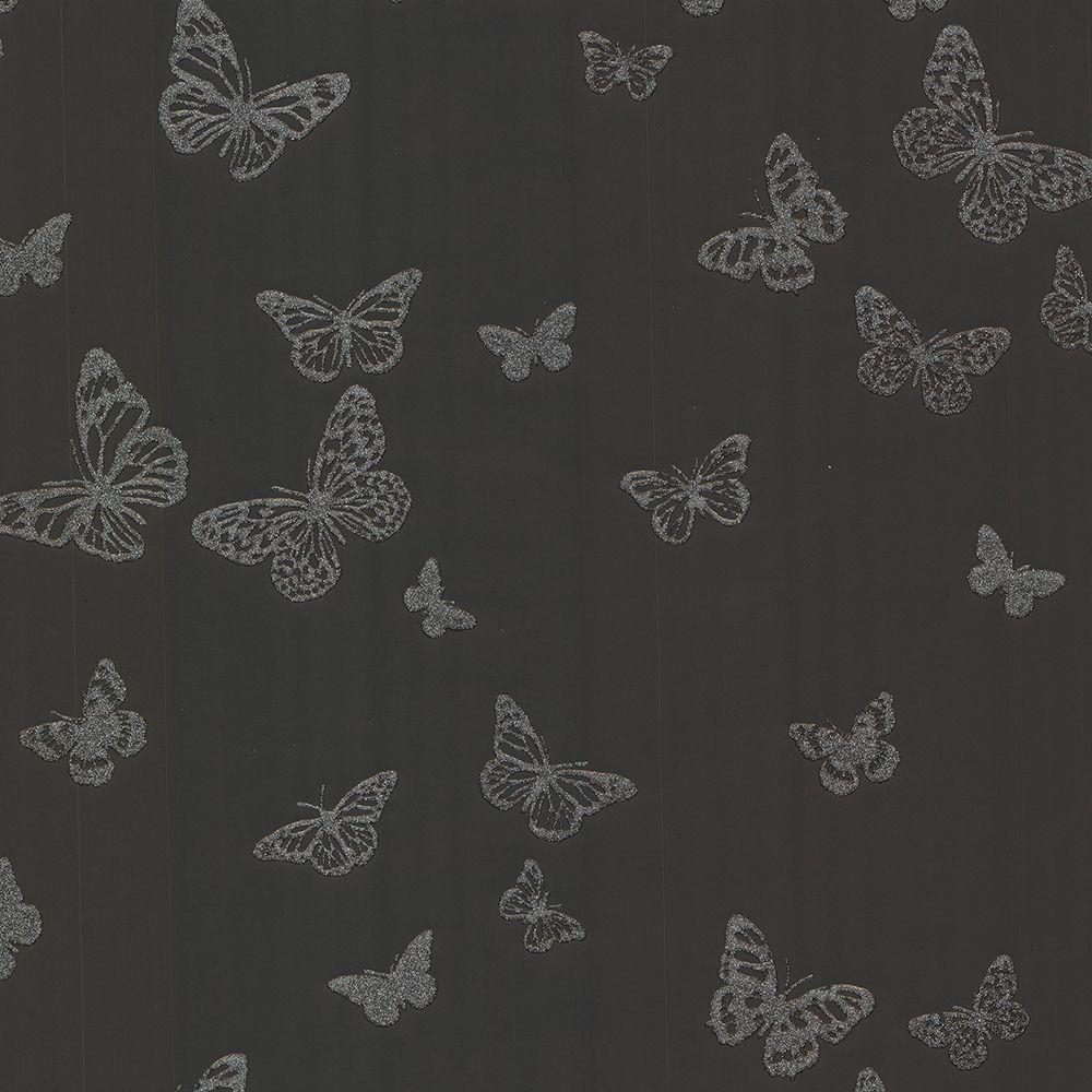 Brewster Pearl Black Butterfly Wallpaper Sample
