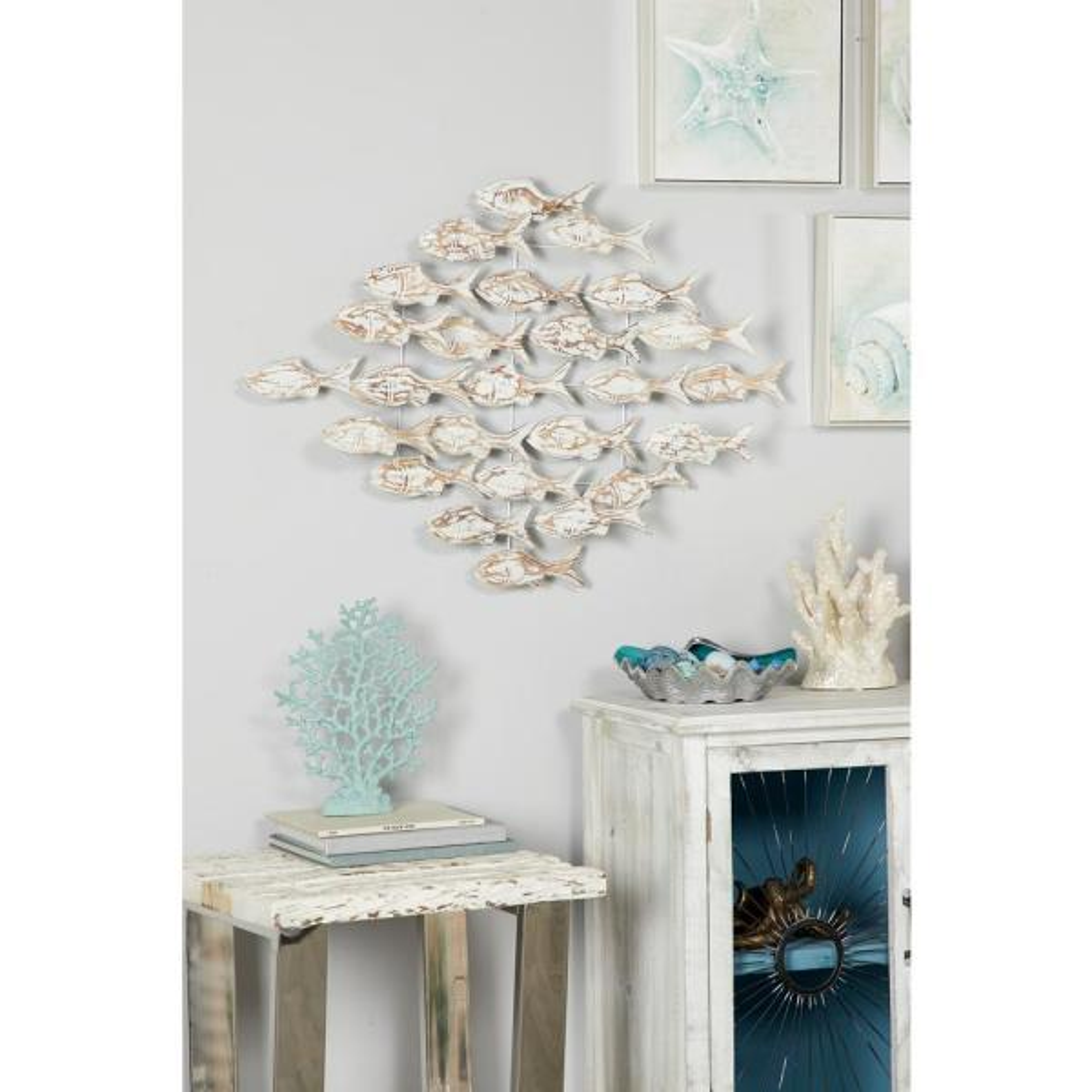 Litton Lane ''School of Fish'' Wooden Wall Art 62823