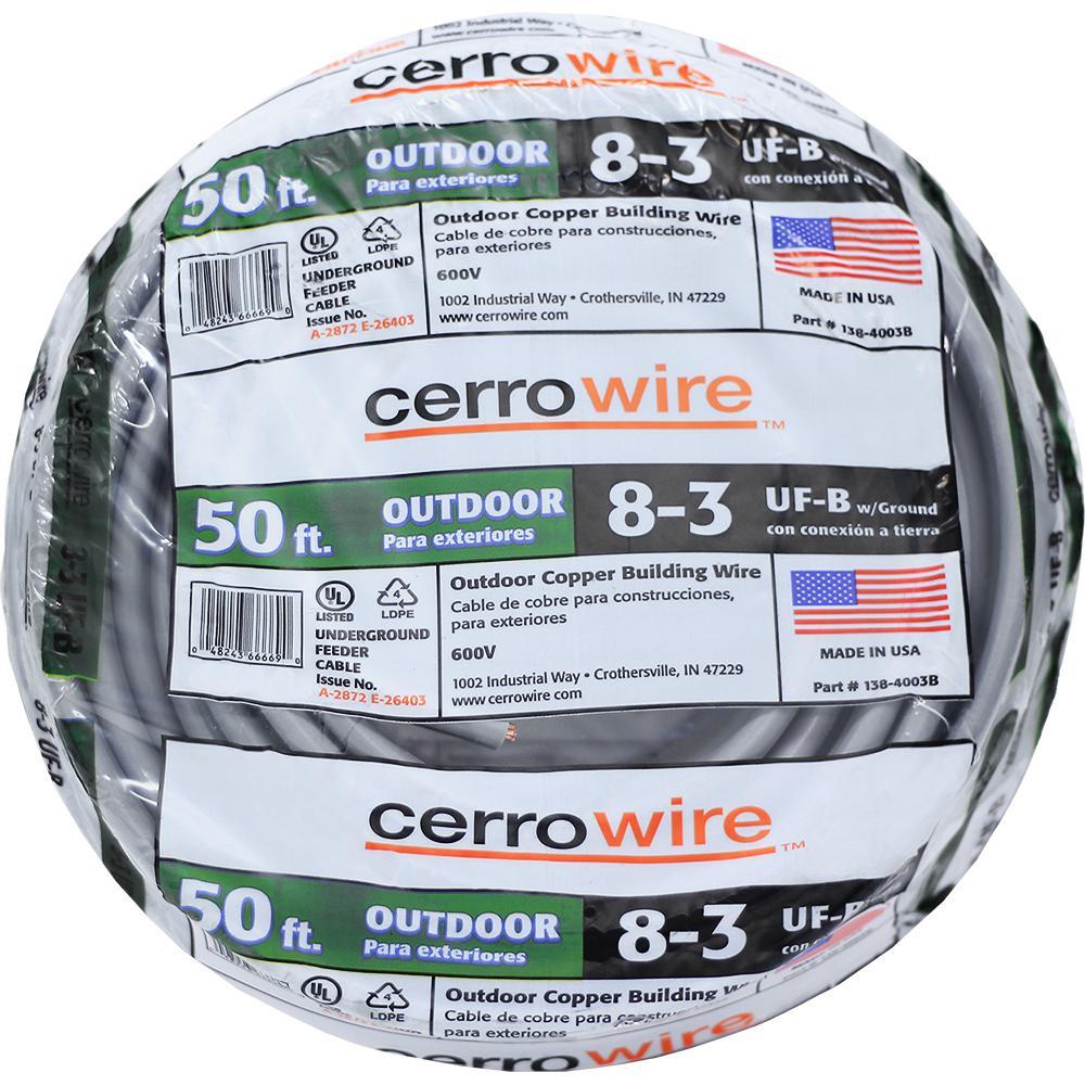 50 ft. 8/3 UF-B W/G Wire
