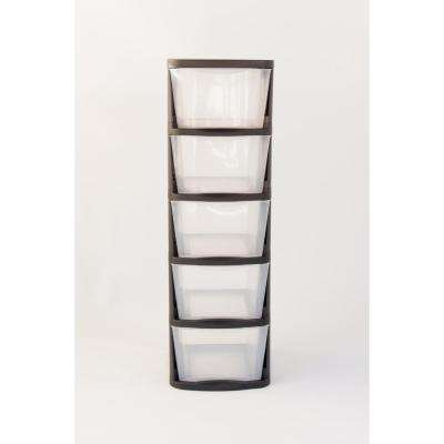 5 Drawer Clear Plastic Storage Tower with Black Frame