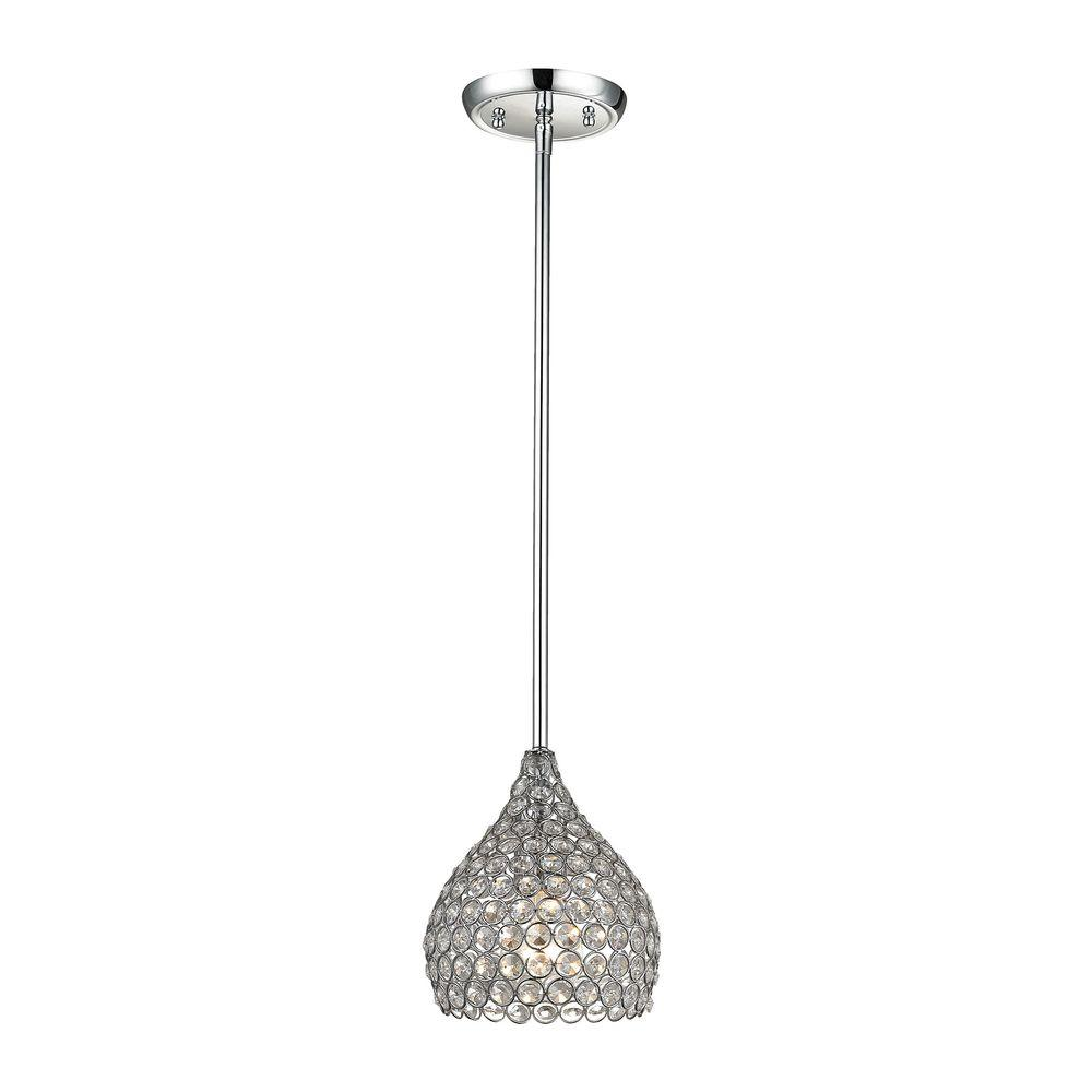 1-Light Polished Chrome Pendant with Clear Crystal Accents Set Inidually in Metal Rings  sc 1 st  The Home Depot & Chrome - Pendant Lights - Lighting - The Home Depot azcodes.com