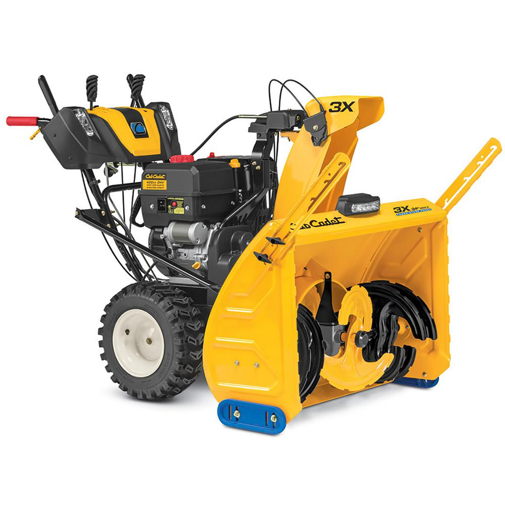 Cub Cadet 3x 30 In 420 Cc Track Drive Three Stage Snow Blower With Electric Start Gas Steel Chute Power Steering Heated Grips 3x 30 Trac W Led Light Bar The Home Depot