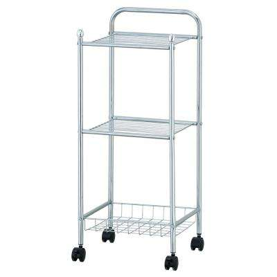 Wayar 3-Shelf Chrome 4-Wheeled 3-Tier Tray Shelf with Casters in Silver