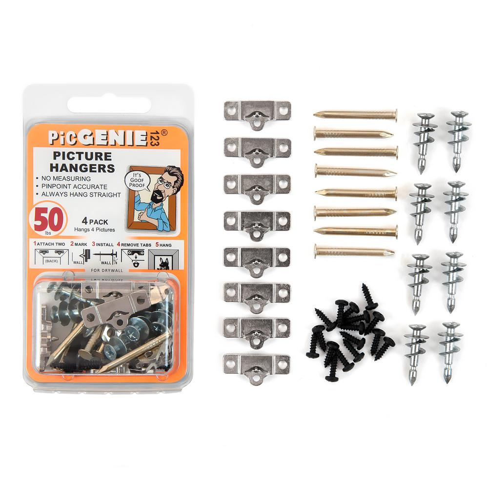 PicGenie123 Picture Hanging Kit 40-Piece Hangs Pics Up To 50 lbs. (4-Pack)