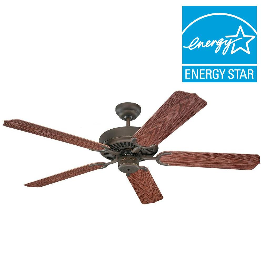 Monte carlo weatherford 52 in roman bronze ceiling fan with roman bronze ceiling fan with american walnut abs blades 5wf52rb the home depot mozeypictures Image collections