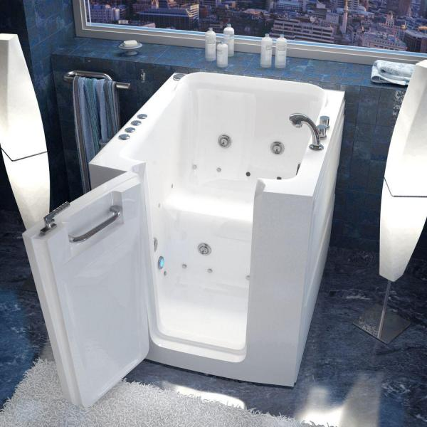 Universal Tubs Rampart 3 2 Ft Walk In Whirlpool And Air Bathtub With Flat Easy Up Adhesive Wall Surround In White H3238lwdca The Home Depot