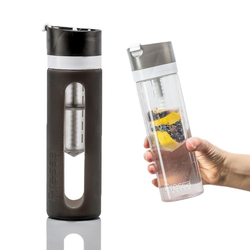 24 oz. Charcoal Glass Bottle Protective Sleeve Fruit Juicing Water