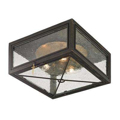 Randolph Vintage Bronze 3-Light 13 in. W Outdoor Flush Mount with Clear Seeded Glass