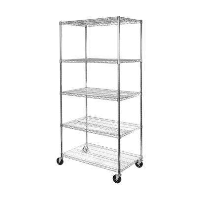 36 in W x 24 in D. x 72 in H, UltraDurable Commercial-Grade 5-Tier NSF-Certified Wire Shelving with Wheels