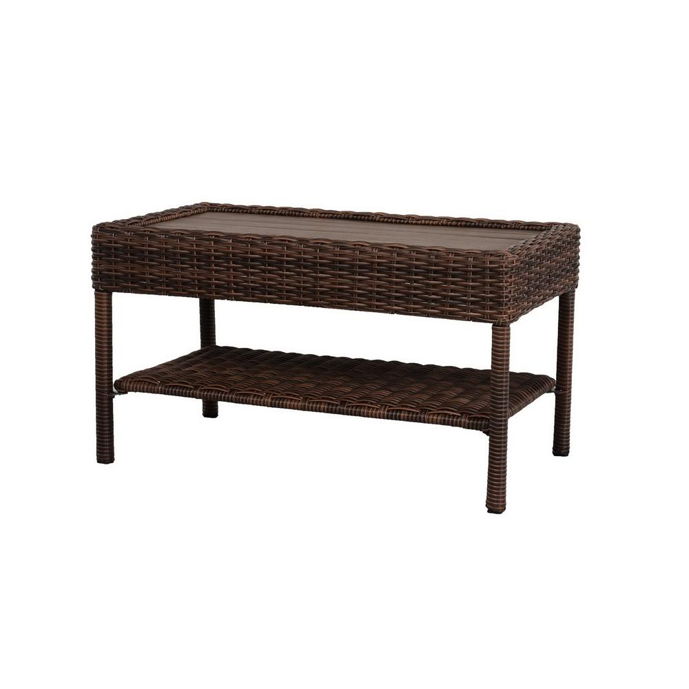 Miraculous Hampton Bay Cambridge Brown Rectangular Wicker Outdoor Patio Coffee Table With Faux Wood Table Top Creativecarmelina Interior Chair Design Creativecarmelinacom