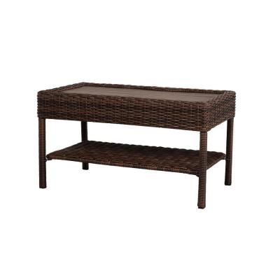 Cambridge Brown Rectangular Wicker Outdoor Patio Coffee Table with Faux Wood Table Top
