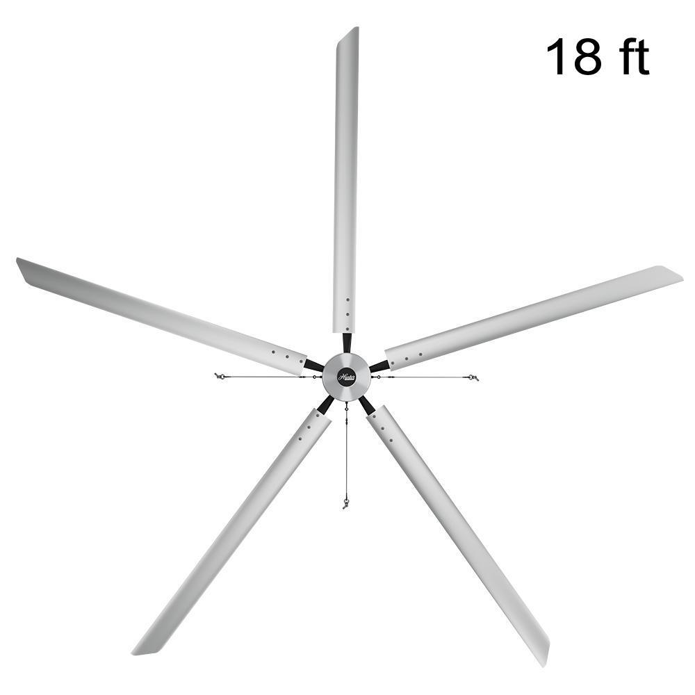 Titan 18 ft. 220-Volt Indoor Anodized Aluminum 3 Phase Commercial Ceiling Fan