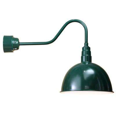 1-Light Outdoor Green Deep Bowl Semi-Flush Mount with Frosted Glass and Wire Guard