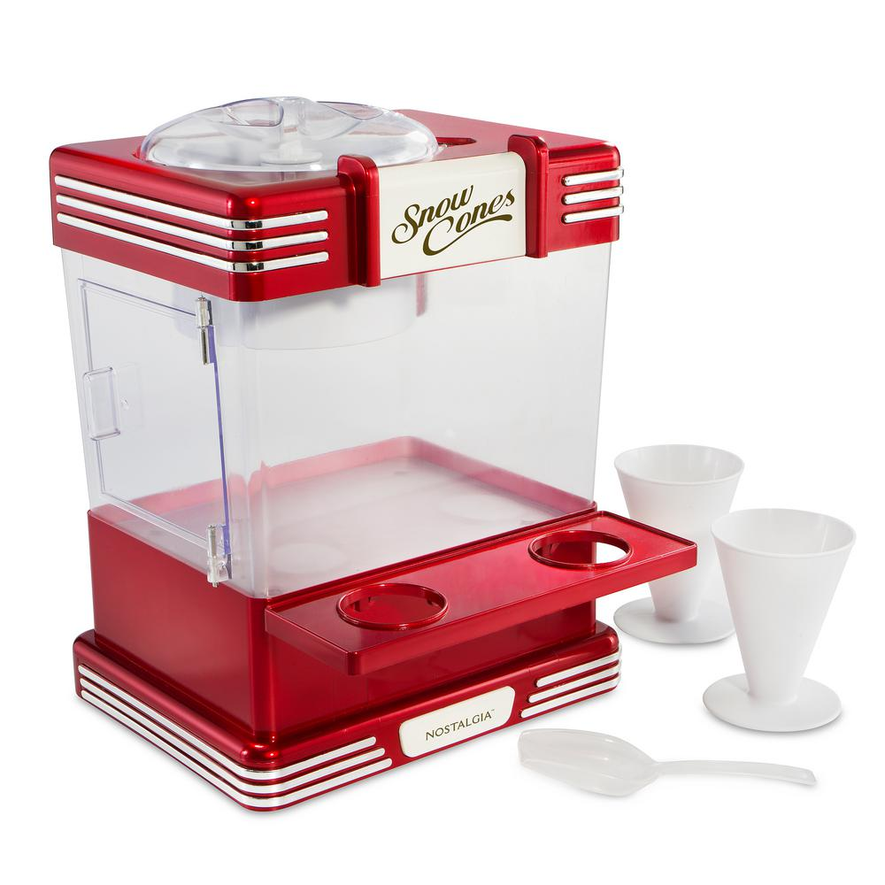 Retro 7.5 Qt. Snow Cone Maker, Red/Orange Keep the party going by creating a number of delicious and refreshing shaved ice drinks. The stainless steel cutting blades transform regular ice cubes into frozen treats that the whole family will love. Simply fill the top with ice cubes, secure the lid and let the snow fly. Serve snow from the ice storage bin, and prepare them on the handy cone shelf with this wonderful countertop unit. Color: Red/Orange.