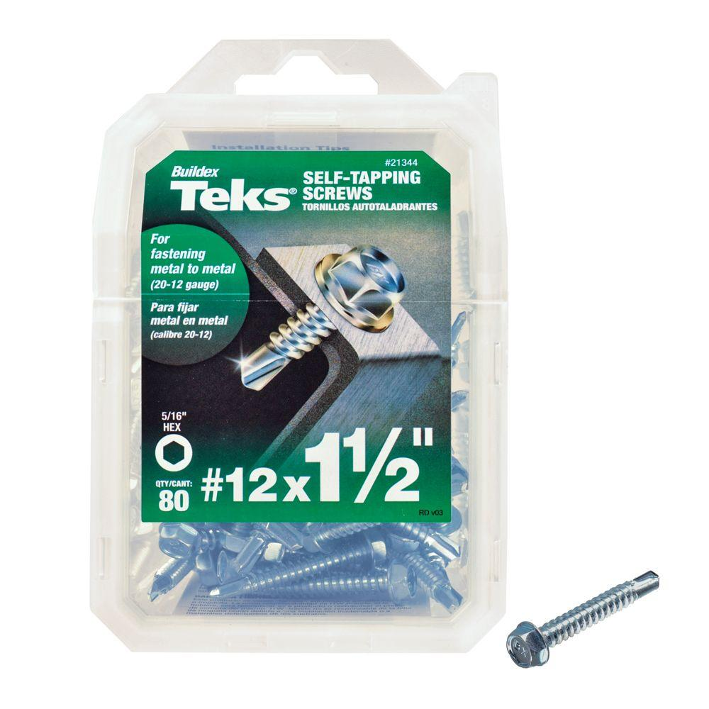 #12 1-1/2 in. External Hex Flange Hex-Head Self-Drilling Screws (80-Pack)