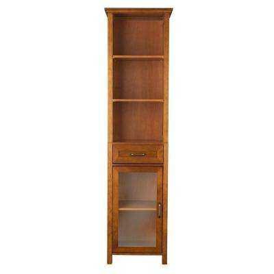 Aida 17 in. W x 65 in. H x 13-1/2 in. D Bathroom Linen Storage Cabinet in Oil Oak
