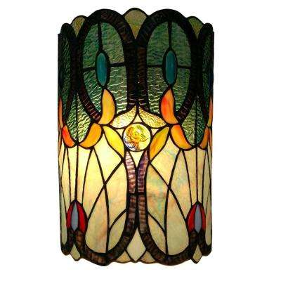 2-Light Dark Brown Tiffany Style Floral Sconce