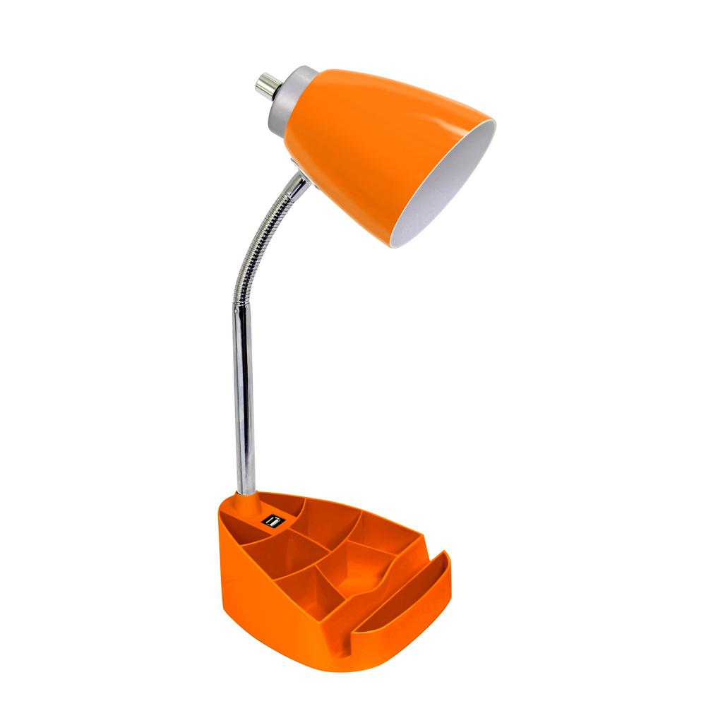 Simple Designs 18.5 in. Limelights Gooseneck Organizer Desk Lamp with iPad Tablet Stand Book Holder and USB port, Orange