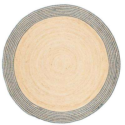 Cape Cod Ivory/Blue 5 ft. x 5 ft. Round Area Rug