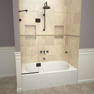 2000V Series 45 in. W x 60 in. H Semi-Frameless Fixed Tub Door with Swing Panel in Oil Rubbed Bronze and Clear Glass
