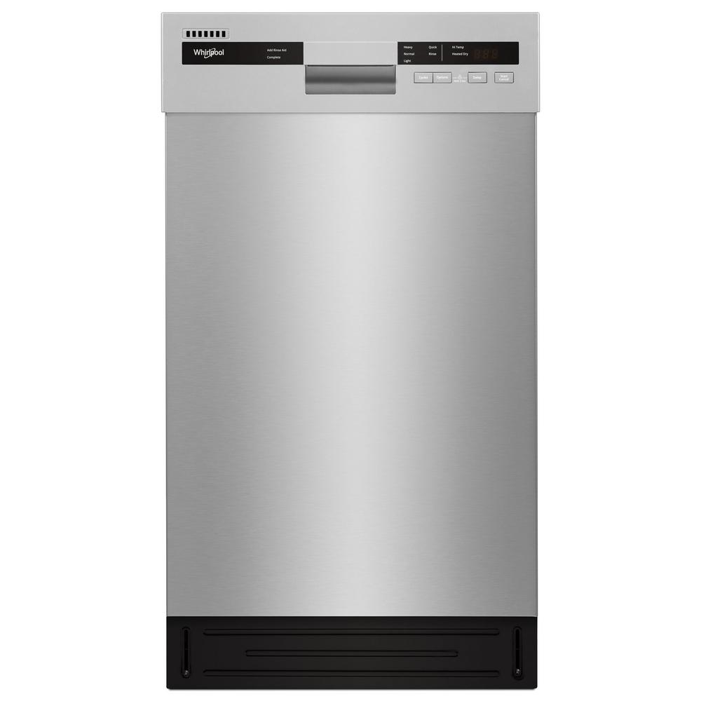 Whirlpool Front Control Built In Compact Dishwasher In Monochromatic Stainless Steel With Stainless Steel Tub 50 Dba Wdf518sahm The Home Depot