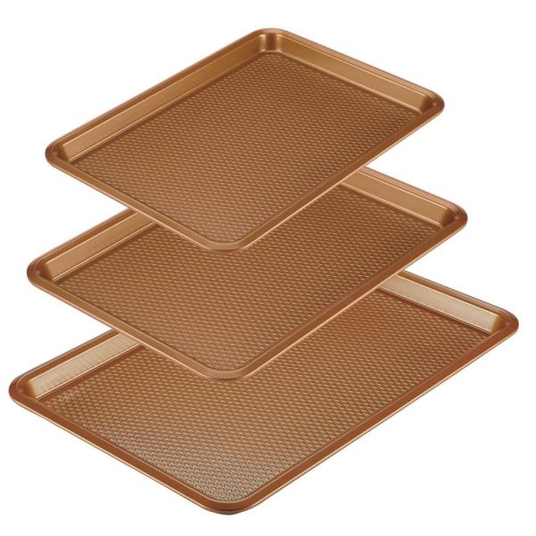 Ayesha Bakeware Nonstick Cookie Pan Set, 3-Piece, Copper
